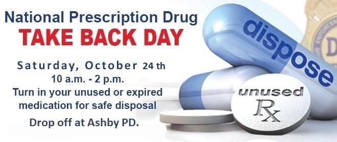 National Prescription Drug Take Back Day, October 24, 2020, 10am – 2pm